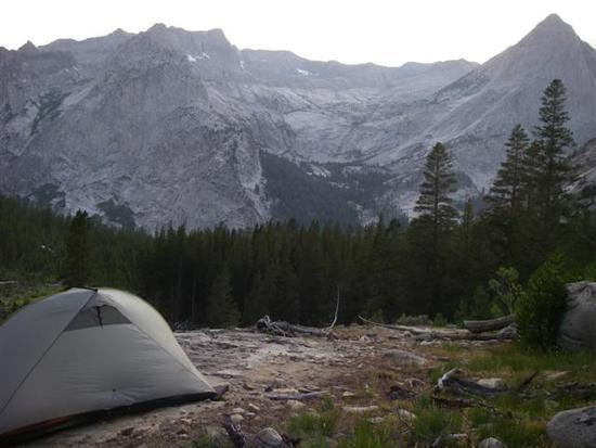 7:25 pm – A long day ends at a rocky campsite with view of 12,018-foot Langille Peak.