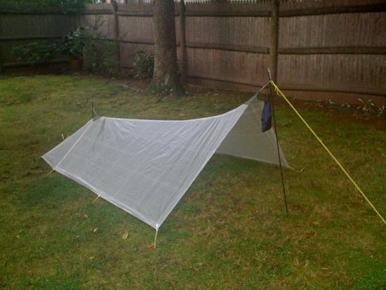 My MYOG tarp erected in my yard