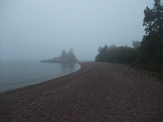 lake superior, foggy evening