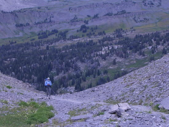 Trail down to Alaska Basin