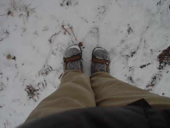 sandal backpacking in snow