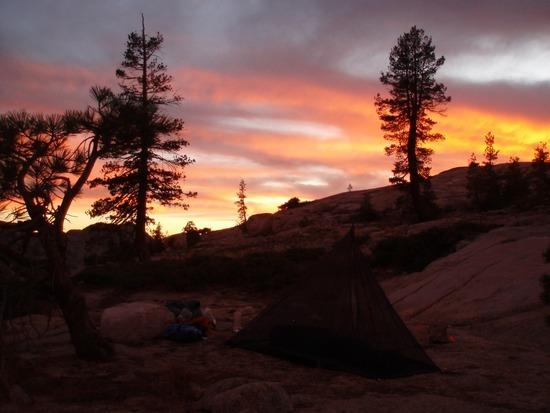 Sunset at Camp above Piute Lake