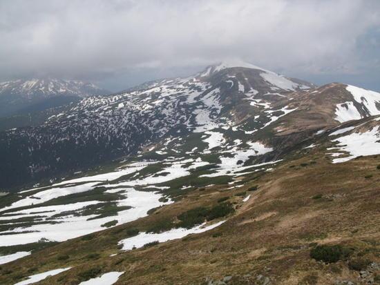 May view towards Ukraine's highest peak - Hoverla (2061 m), in the Carpathians