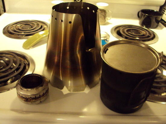cone, pop can stove and Snow Peak 700 kettle
