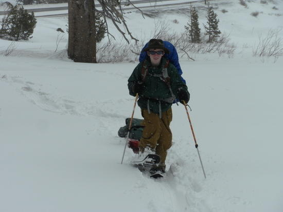 Connor snow shoeing