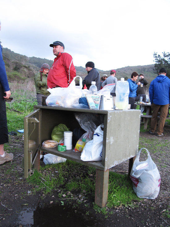 Provided Food Storage Boxes with Ken H. in Red Jacket