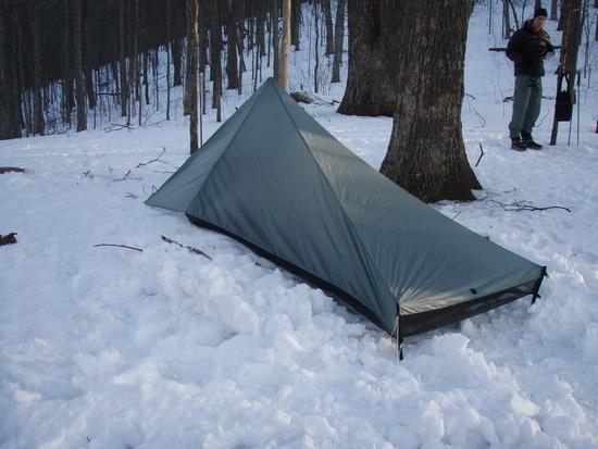 Brad Rogers' Tarptent Contrail in the snow
