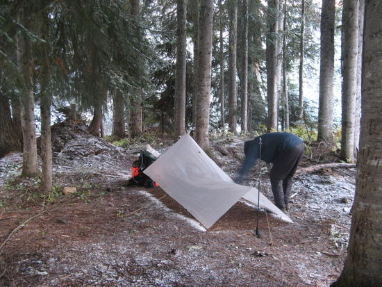 Setting up tarp at Rainy Pass, Wash. as it begins to snow.