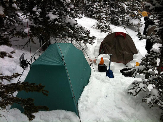Winter camping with tent
