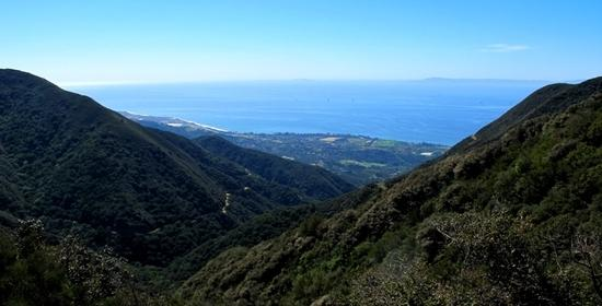 View of the Santa Barbara Channel and Channel Islands NP from the top of the Romero Trail