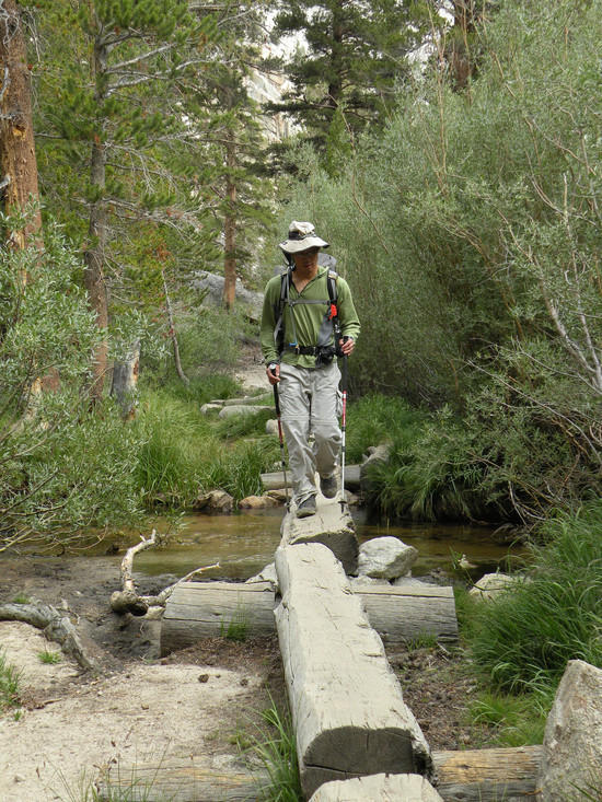Tony crossing Lone Pine Creek