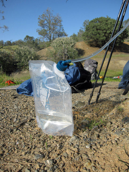 Platypus Hoser Hydration System as Clean Water Catch Bag