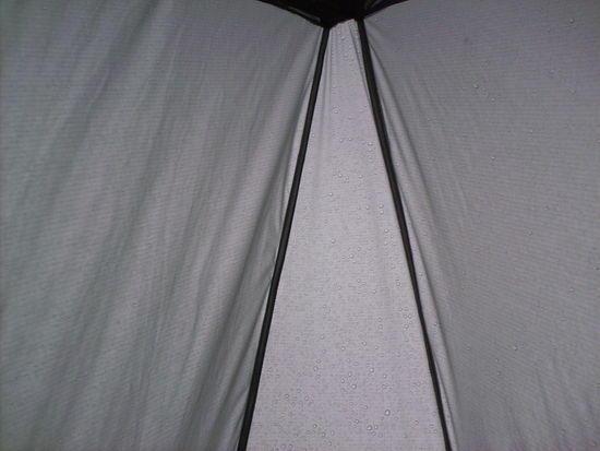 Rain on silnylon -- sleep in...