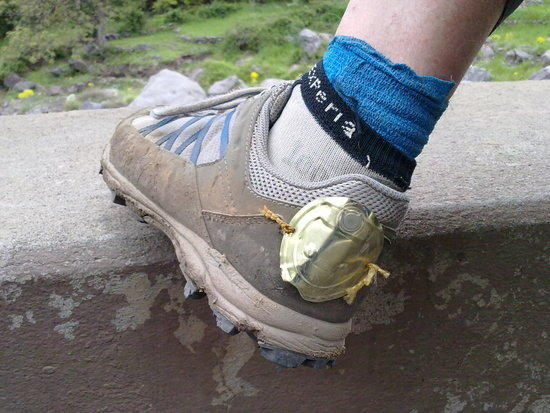 plated hole in my shoe to help with crampons