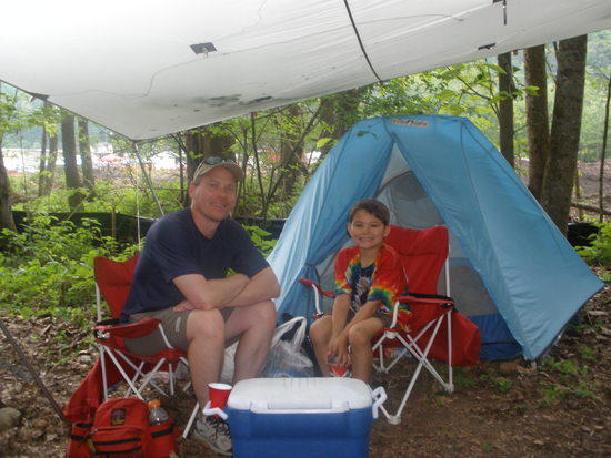 Our campsite in Tent City