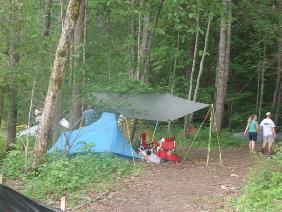Edge of Tent City in Woods