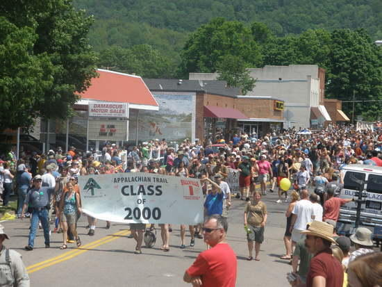 The annual hiker parade, each year has a  banner.