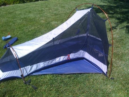 The tent itself. Shows the niche/cubby area for storage inside the tent and what will become the alcove when the rain fly is on. & Ultralight solo tent: which one to pick? - Backpacking Light