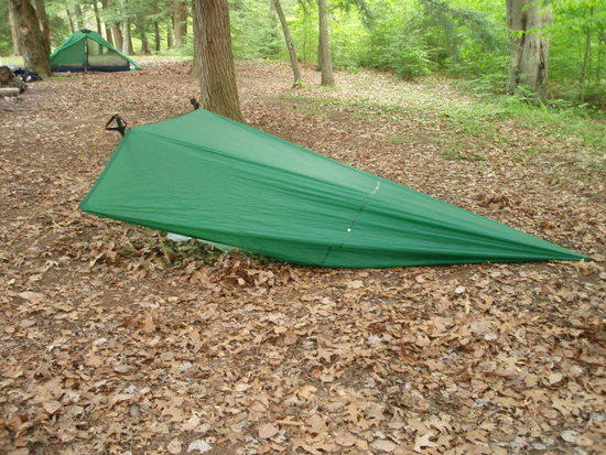 8x10 Silnylon Tarp pitched in a wedge