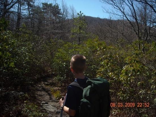 Going up Bluff Mtn.