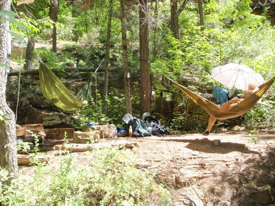 Relaxing in the Warbonnet Traveler hammock