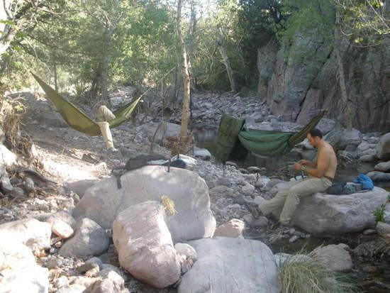 Hammock camp at Fish Creek in the Superstition WIlderness
