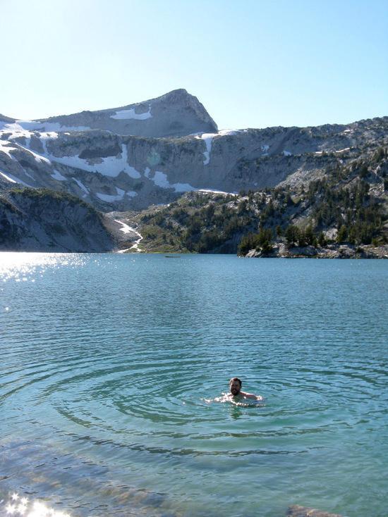swimming in glacier lake