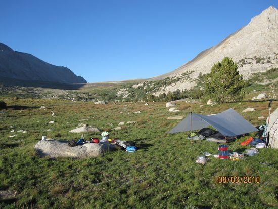 Camp on Taboose trail looking toward Taboose Pass