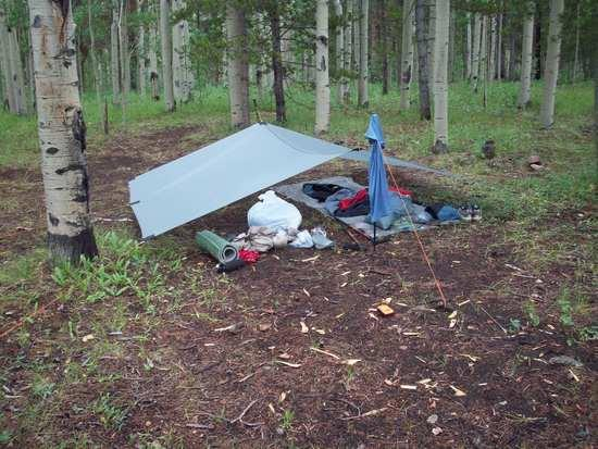 Our campsite at Kenosha Pass, the tarp is homemade and is a little oversized