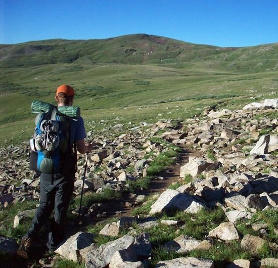 Hiking across the tundra