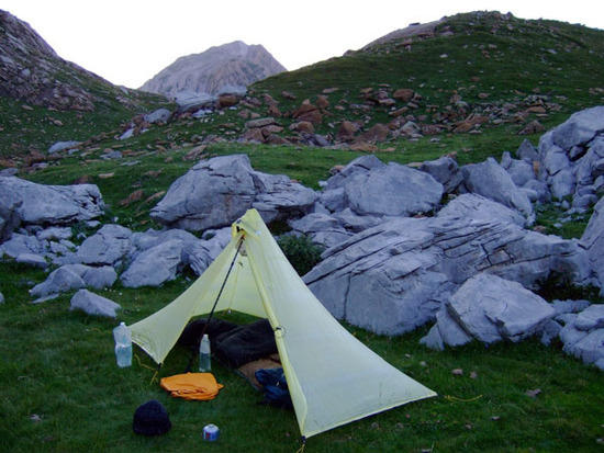 Camp with Bisaurin behind, sunset.