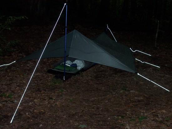 Silnylon tarp with beaks pitched at Cherry Gap on the AT June 2010