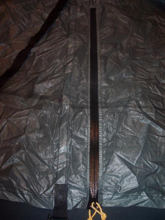Front view of SUL Silnylon tarp beak waterproof zipper