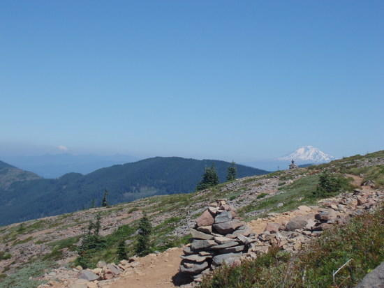 Mt. Adams on the right and Mt. Rainier on the left.