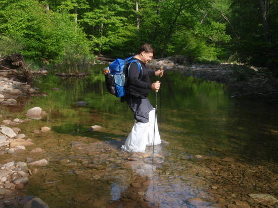 Stream Crossing with Trash Bag Waders