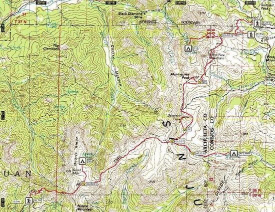 TOPO map of route through the S San Juan Wilderness