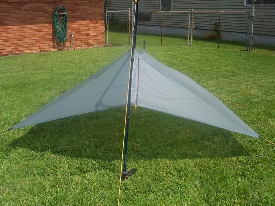 Silnylon tarp pitched with beak zipper closed