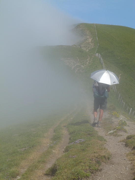 Day #5. Walking the ridge. Hot weather, but foggy on the French side.