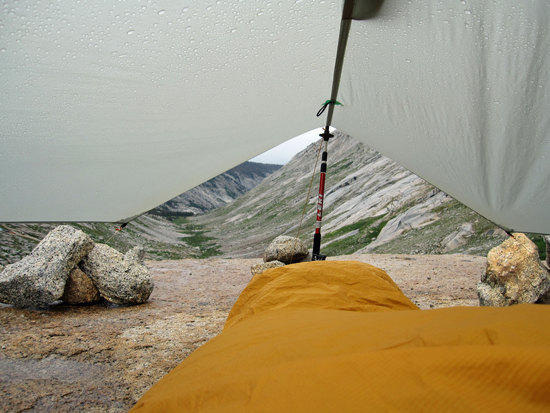 View From My Bivy in the Drizzling Rain