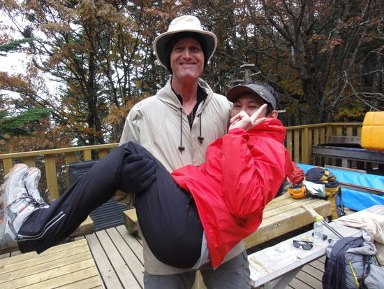 Clowning around with one of my new Japanese hiker friends...