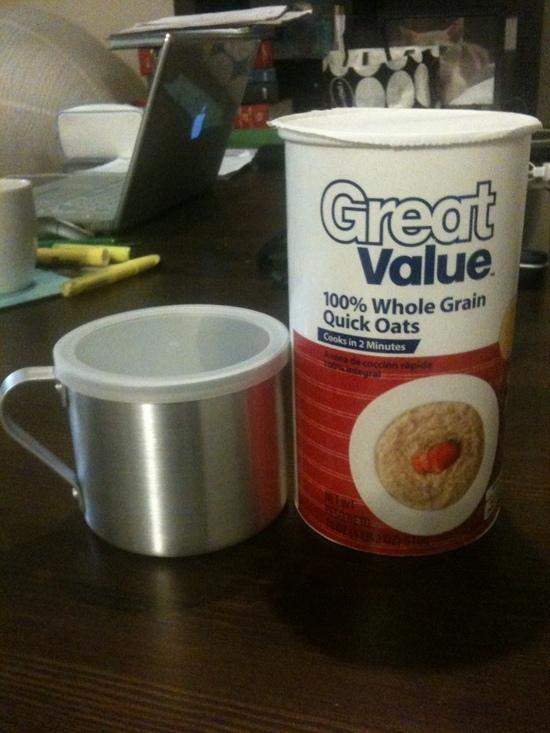 Imusa 10cm mug with Walmart brand quick oats lid
