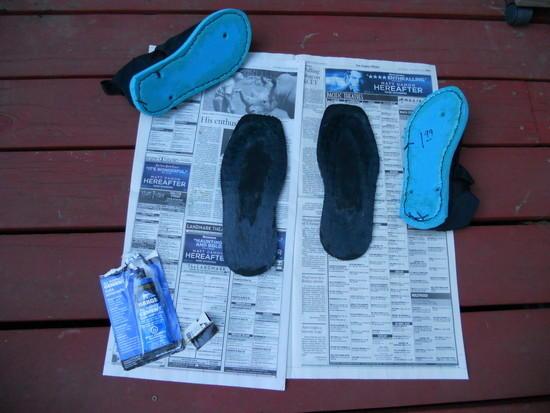gluing soles