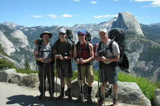 Day #1 at Glacier Point, me (left), my two sons Dillon and Derrick, and my friend Bill.