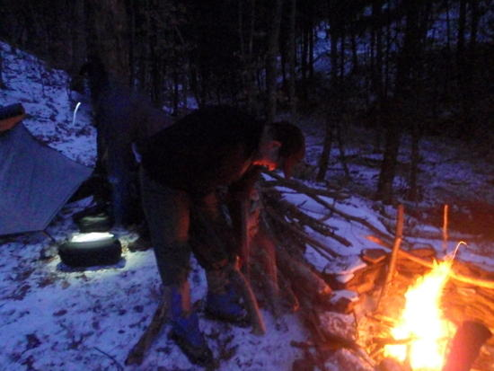 Ron cutting firewood
