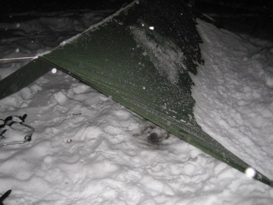 snow on tarp