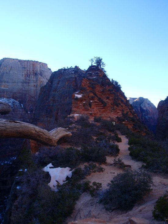 View toward Angels Landing and the sunrise