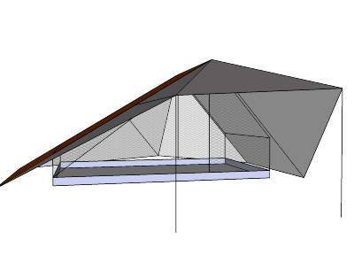 close up of the front of the tent with awning and one door open