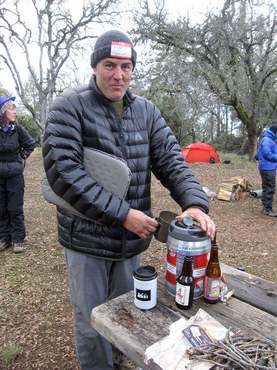Ken Tanking Up on A Mini Keg Someone Hiked In
