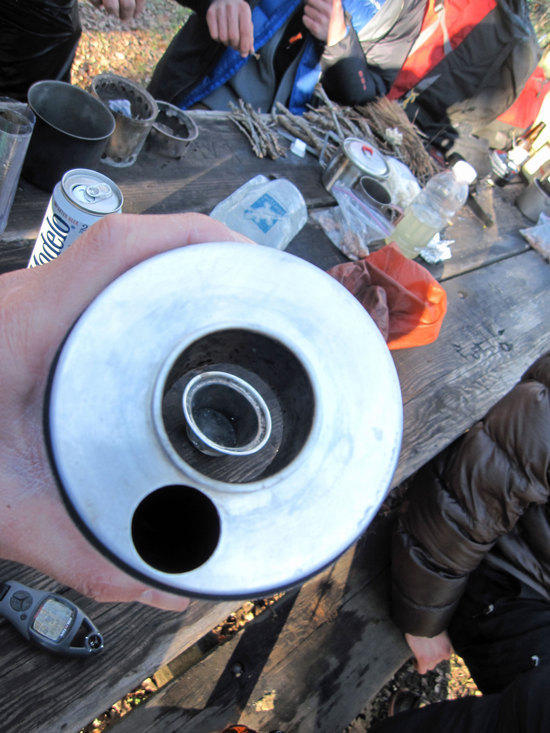 Top View Looking Through the Boiler at the Base that is on the Table
