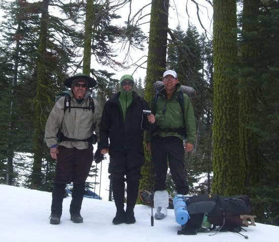 Friday morning, feeling good. Notice we don't need snowshoes. We debated not bringing them, that wou